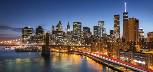 Brooklyn Bridge and the New York Financial District at dusk